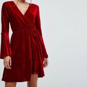 ASOS Long Sleeve Red Velvet Dress